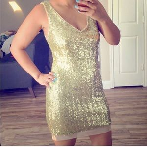Gold Sequin Party Holiday Dress